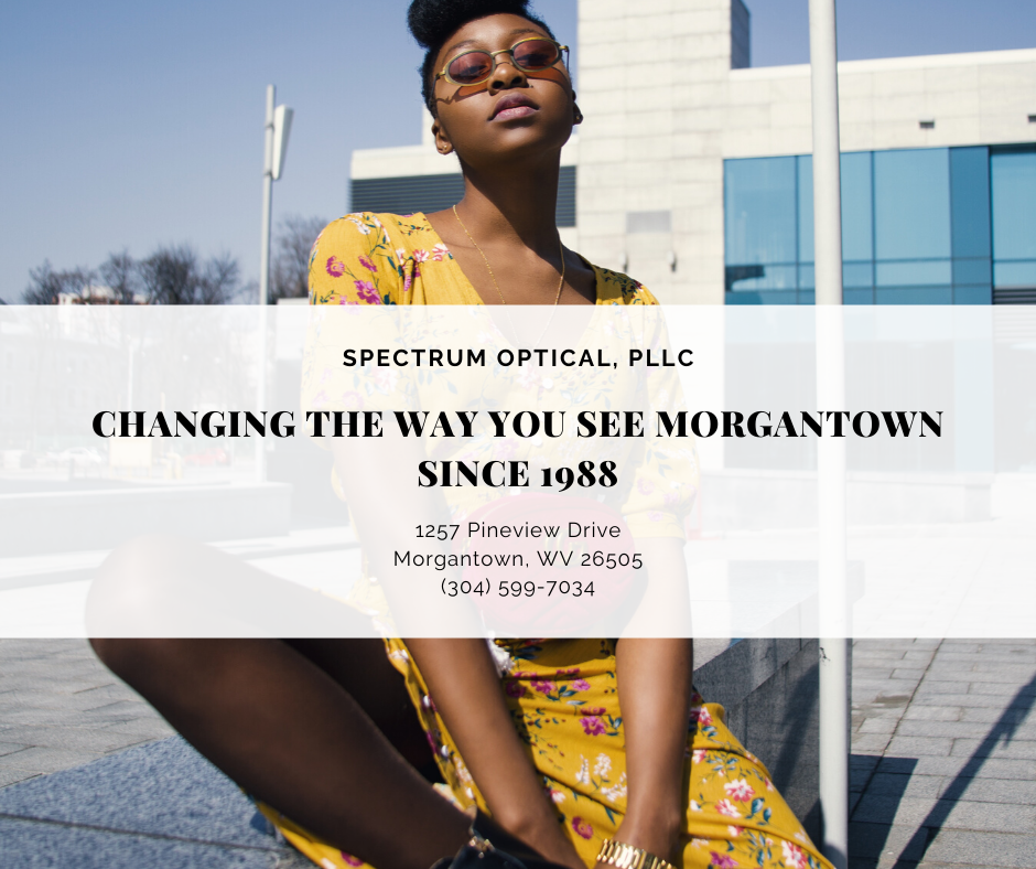 "A woman wears sunglasses behind a graphic that says ""Spectrum Optical, PLLC: Changing the Way You See Morgantown Since 1988."""
