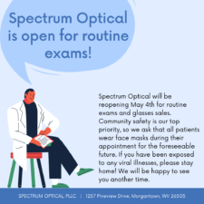 Spectrum Optical is open for routine exams! A doctor says these words while seated against a blue background.